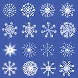 16 beautiful cold crystal snowflakes Stock Photography