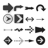 16 cartoon arrows. 3d render of 16 cartoon arrows royalty free illustration