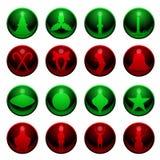16 Christmas icons. Set of sixteen shiny Christmas decoration icons royalty free illustration