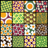 16 Colorful Abstract Backgrounds: Flowers. Colorful Seamless Abstract Floral Backgrounds - Illustration in freely scalable and editable vector format Stock Photography