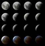 16 colpi di eclipse della luna Fotografie Stock