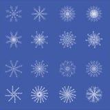 16 copos de nieve cristalinos blancos abstractos Foto de archivo libre de regalías