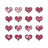 16 corações com flores Fotografia de Stock