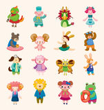 16 cute animal icons set. Cartoon vector illustration royalty free illustration
