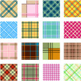 16 different plaid patterns. Ill Royalty Free Stock Image