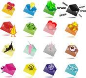 16 enveloppes multicolores avec des surprises Photo libre de droits