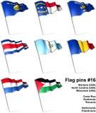 16 flaggastift vektor illustrationer