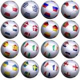 16 Fußballkugeln von 2012 europäischen Konkurrenten Lizenzfreie Stockfotos