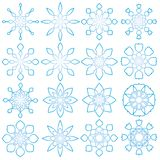 16 geometric snowflakes. 16 strylized, geometric snowflake illustrations Royalty Free Stock Image