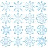 16 geometrische sneeuwvlokken Royalty-vrije Stock Afbeelding