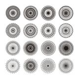 16 GUILLOCHE ORNAMENTS. 16 ornaments (rosettes) black on white for stamps Stock Illustration