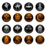 16 Halloween icons. Set of 16 glossy Halloween decoration icons Stock Photography