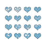 16 hearts with flowers. 16 hearts with plaid pattern and flowers Royalty Free Illustration