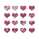 16 hearts with flowers. 16 beautiful red hearts with flowers vector illustration