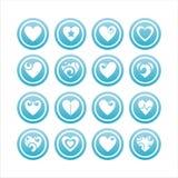 16 hjärtor inställda tecken royaltyfri illustrationer