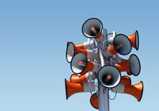 16 loudspeaker. Very high resolution 3d render of 16 loudspeakers under a clear blue sky Royalty Free Stock Photo