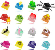 16 Multi-coloured envelopes with surprises Royalty Free Stock Photo