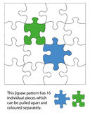 16 piece jigsaw. Blank. When used with a  program each piece can be coloured individually and be moved around or deleted to create different effects Royalty Free Stock Photography