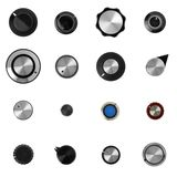 16 retro electronic control knobs Stock Images