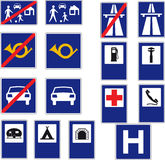 16 road signs. Set of 16 road signs and interdictions Royalty Free Stock Photography