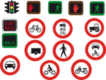 16 road signs and lights. On white background stock illustration