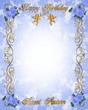 16 söt födelsedag blå inbjudan Royaltyfri Bild