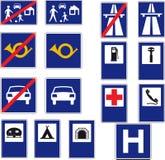16 sinais de estrada Fotografia de Stock Royalty Free