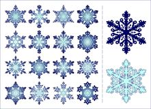 16 snowflakes. Set of 16 different snowflakes with example of colour varieties Stock Illustration