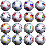 16 soccer balls of 2012 European competitors. Sixteen soccer balls with the flags of all participating teams in the European Soccer Championship 2012. Hi-res 3D royalty free illustration