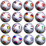16 soccer-balls with flags of all UEFA 2008 teams Stock Image