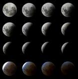 16 tiros do eclipse da lua Fotos de Stock