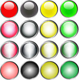 16 Vector Buttons 2. 16 Metallic Web Buttons (Vector Format vector illustration