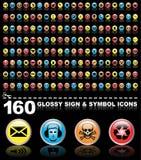 160 glatte Zeichen- und Symbolikonen Stockfotografie