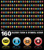 160 glossy sign and symbol icons. Signs and symbols on black with reflections royalty free illustration