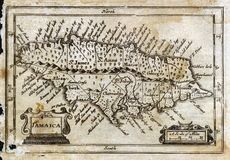 1635 Antique John Speed Map Jamaica Royalty Free Stock Photo