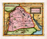 1685古色古香的阿根廷duval映射土库曼 免版税库存照片