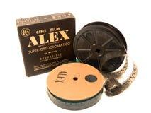 16mm Alex doos, film en spoelHOOFDARTIKEL Stock Afbeeldingen