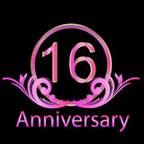 16th день рождения годовщины иллюстрация вектора