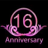 16th anniversary birthday. Pinky girl vector Vector Illustration