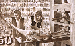 16th Century Printers at Work Stock Image