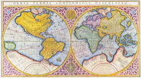 16th century world map. 16th century hand colored map of the world written in latin royalty free illustration