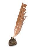 17世纪墨水池笔纤管 免版税库存照片