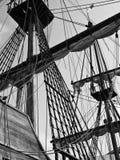 17世纪galleon上船桅寿衣 库存图片