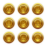 17个按钮金图标设置了万维网 免版税库存图片