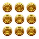 17 икон золота кнопки установили сеть Стоковое Изображение RF