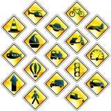 17 установленный иконами желтый цвет перевозки движения Стоковое Изображение RF