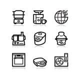 17 черных икон установили сеть Стоковое Фото
