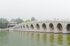 17 arch bridge. BEIJING - AUGUST 27:  17 arch bridge in the lake of the summer palace of the Emperor , on August 27, 2012, Beijing, China Stock Photo