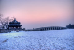 17 arch bridge in sunset. 17 arch bridge, the summer palace, china Royalty Free Stock Photography