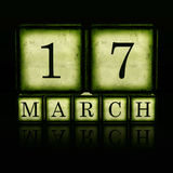 17 de marzo en los cubos de madera 3d Imágenes de archivo libres de regalías